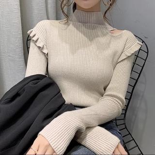ZARA - レディース 新品 未着用 長袖ニットセーター  ハイネック フリーサイズ N