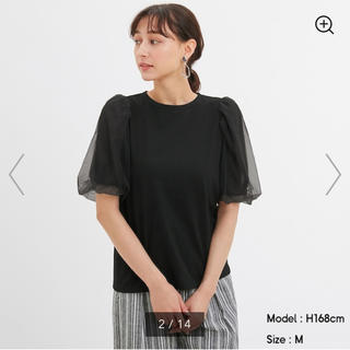 新品★GU チュールボリュームスリーブT(5分袖)