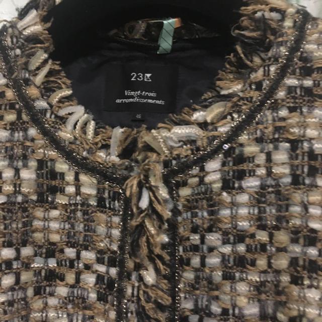 23区(ニジュウサンク)の23区リントンミックスツィードジャケット❣️ゴールド&ブラウン系46サイズ❤️ レディースのジャケット/アウター(ノーカラージャケット)の商品写真