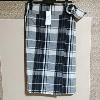 スコットクラブ(SCOT CLUB)のSCOTCLUB系列 チェック柄ベルトラップスカート(ひざ丈スカート)
