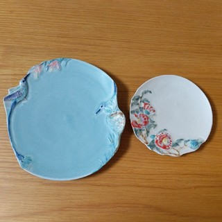お得です うつわやみたす 器 取皿 デザート皿 青い鳥 つばき 花皿