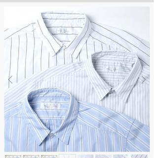 アンユーズド(UNUSED)のunused アシンメトリーストライプシャツ(シャツ)