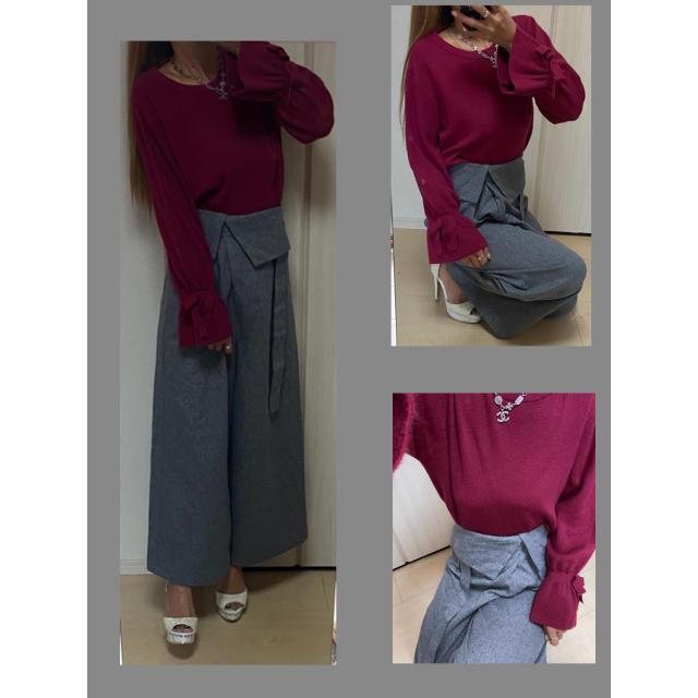 mysty woman(ミスティウーマン)のフレアバギー パンツ ニット クリア ミスティウーマン レディースのパンツ(バギーパンツ)の商品写真