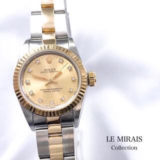 ロレックス(ROLEX)の【仕上済】ロレックス 11P シャンパン文字盤 コンビ レディース 腕時計 時計(腕時計)