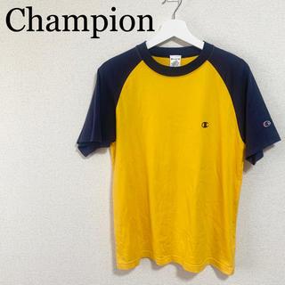チャンピオン(Champion)のチャンピオン Tシャツ メンズM 黄色 紺色 ロゴマーク ラグラン(Tシャツ/カットソー(半袖/袖なし))