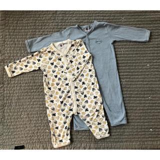PETIT BATEAU - 【プチバトー】美品 パジャマ長袖ロンパース2枚