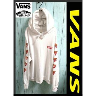 ヴァンズ(VANS)のVANS バンズ ワンポイントロゴ 白 パーカープル オーバー 腕ロゴ アウター(パーカー)