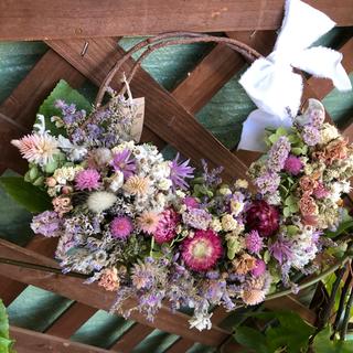 アナベルとピンクの小花のナチュラルリース*ドライフラワーリース(ドライフラワー)