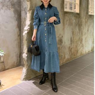 GRACE CONTINENTAL - グレースコンチネンタル デニム刺繍衿ワンピース