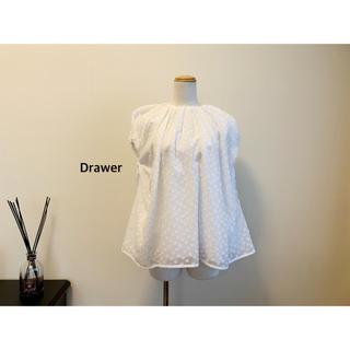 Drawer - Drawer ドットジャカードギャザーブラウス