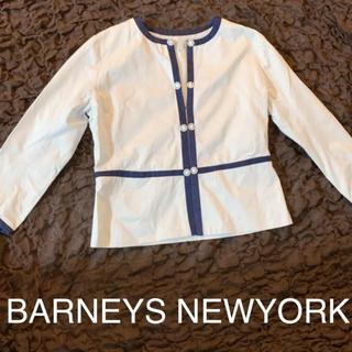 BARNEYS NEW YORK - バーニーズ ニューヨーク★ノーカラー美ラインジャケット★オフィスカジュアル