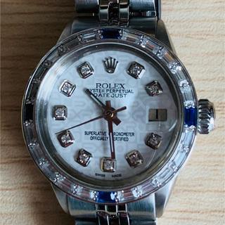 ロレックス(ROLEX)のROLEX 10Pダイヤ ホワイトプリントシェル デイトジャスト(腕時計)