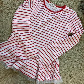 エムピーエス(MPS)のMPS 140 ロンT ボーダー 長袖 小学生 女の子 レース かわいい(Tシャツ/カットソー)