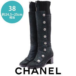CHANEL - 美品❤シャネル ココマークボタン ニット ロングブーツ  38(約24.5-25