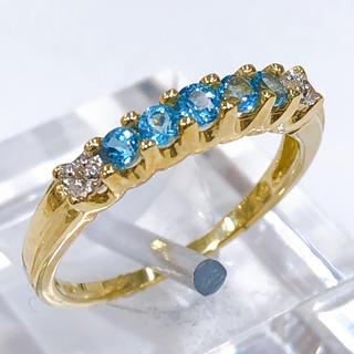 K10 /WG ブルートパーズ ダイヤモンド リング(リング(指輪))