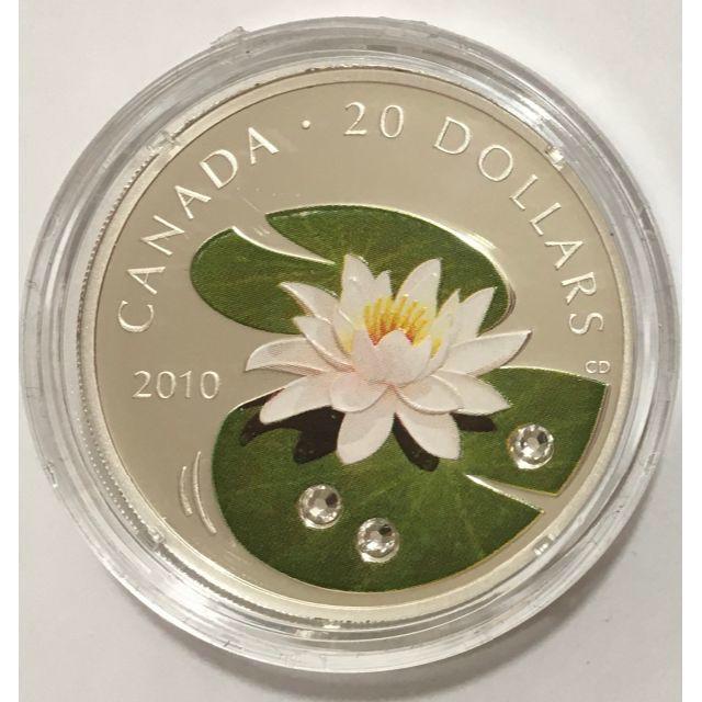 睡蓮(スイレン)2010年カナダ発行 20ドル銀貨 プルーフ スワロフスキー付き エンタメ/ホビーの美術品/アンティーク(貨幣)の商品写真