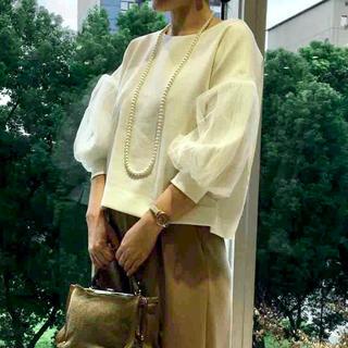 ティアラ(tiara)のTIARA チュールコンビミラノリブトップス 白 ホワイト(カットソー(長袖/七分))
