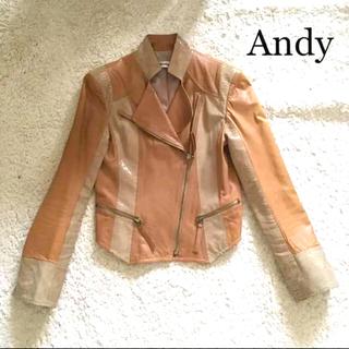 アンディ(Andy)のAndy高級ラムレザーライダースジャケット定価5万(ライダースジャケット)