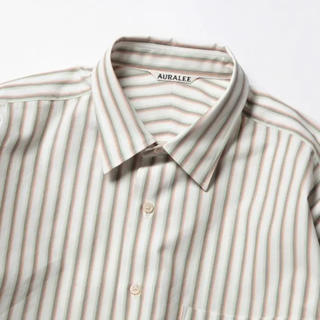 COMOLI - auralee washed finx twill stripe shirts