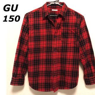 GU - GU フランネルチェックシャツ シャツ 150cm 140cm レッド 赤