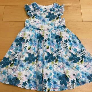 BeBe - Bebe べべ☆花柄ワンピース☆ブルー 130cm