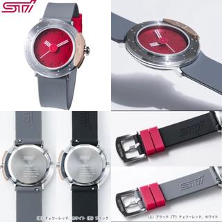 スバル(スバル)の【新品】SUBARU STI チェリーレッド 腕時計(ステンレスベルト付き)(腕時計(アナログ))