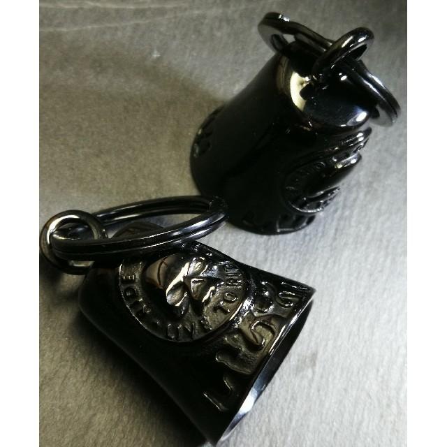 Harley Davidson(ハーレーダビッドソン)のスカル柄『BLACK仕上げ ガーディアンベル』2個セット ステンレス製  自動車/バイクのバイク(装備/装具)の商品写真