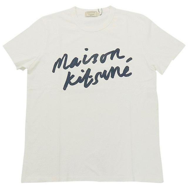 MAISON KITSUNE'(メゾンキツネ)のメゾンキツネ ハンドライティングロゴ Tシャツ 白 Sサイズ メンズのトップス(Tシャツ/カットソー(半袖/袖なし))の商品写真