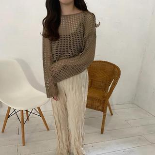 lawgy 2020aw mesh knit brown タグ付き