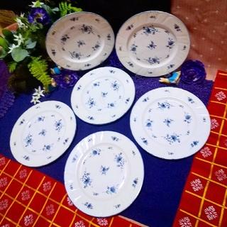 ノリタケ(Noritake)の【ノリタケ】美品青花 クラフト―ン  21cm 大皿 ⑥枚8709【洋食器】(食器)
