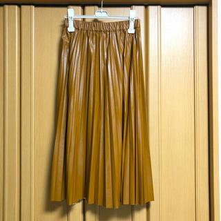 ZARA - ZARA ブラウンレザープリーツスカート
