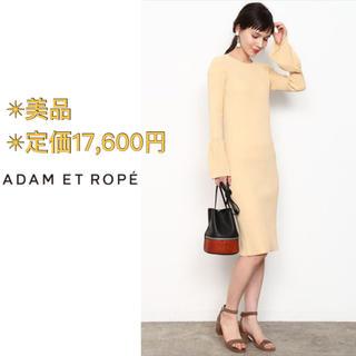 Adam et Rope' - アダムエロペ リブフリル スリーブドレス ワンピース ミディ丈 リブワンピース
