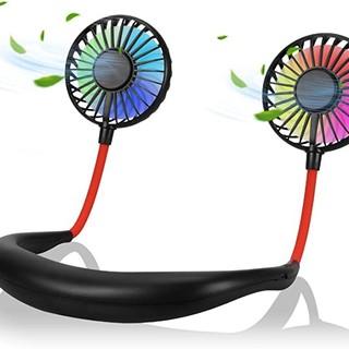 USB首掛け扇風機 7色LED 360°調整 風量3段階 折たたみ式(ブラック)