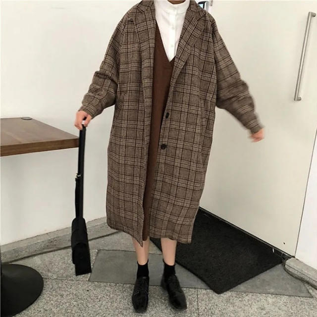 HARE(ハレ)のハレ ウールチェック柄コート ブラック ブラウン メンズのジャケット/アウター(その他)の商品写真