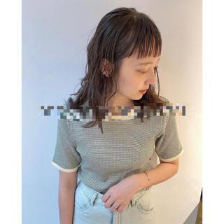 Kastane - 細リブリンガーボーダーTシャツ(グリーン)