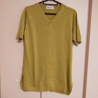 サンローラン(Saint Laurent)のYVES SAINT LAURENTサマーニット VネックTシャツ ピスタチオ(Tシャツ/カットソー(半袖/袖なし))
