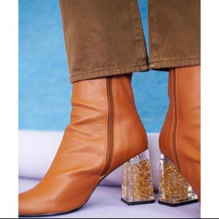 スライ(SLY)のsly CLEAR HEEL BOOTS  ブーツ キャメル(ブーツ)