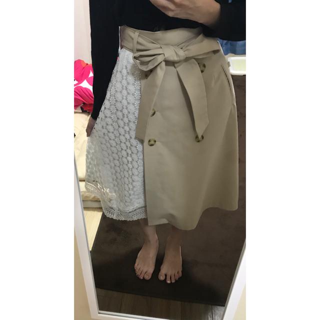 WILLSELECTION(ウィルセレクション)のウィルセレクション ウエストリボン フレアスカート カーディガン セット レディースのスカート(ひざ丈スカート)の商品写真