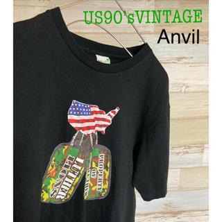 アンビル(Anvil)のTシャツ US90'sVINTAGE アメリカ国旗 ドッグタグ メッセージT(Tシャツ/カットソー(半袖/袖なし))