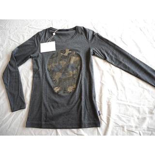 マークアンドロナ(MARK&LONA)の新品!マークアンドロナ スカル 長袖Tシャツ レディース S チャコールグレー(ウエア)