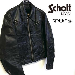 ショット(schott)の70's schott レザー ヴィンテージライダースジャケット メンズ40 (ライダースジャケット)