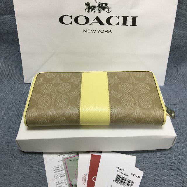 COACH(コーチ)の新品 COACH長財布 コーチ  F52859   イエロー  小銭入れあり レディースのファッション小物(財布)の商品写真
