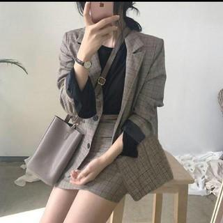 韓国ファッション チェック ジャケット  アウター スカート セットアップ