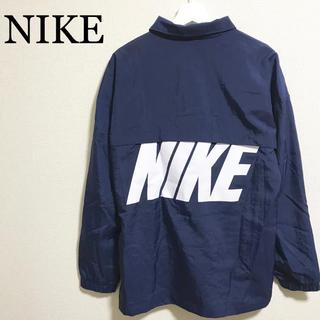 ナイキ(NIKE)の★未使用★NIKE ナイロンジャケット L 紺 コーチジャケット ビッグロゴ(ナイロンジャケット)