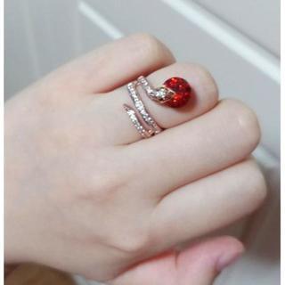新品☆赤レッドストーン○蛇/ヘビ/スネイクリング/指輪(リング(指輪))