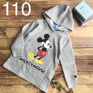 Disney - 【110】ミッキー 裏起毛 フード付 トレーナー チュニック グレー
