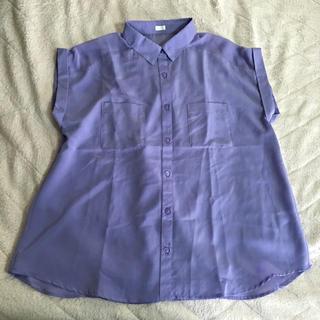 ジーユー(GU)のGU パープルとろみシャツ(シャツ/ブラウス(半袖/袖なし))