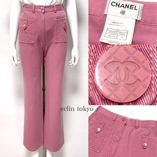 CHANEL - シャネル ヴィンテージ マトラッセ刺繍 ストレッチパンツ ピンク 34