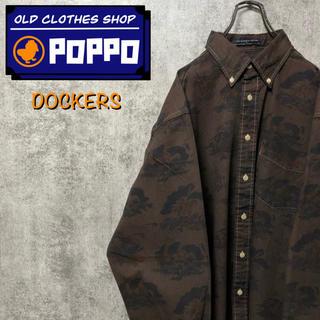 ドッカーズ☆ロゴタグ入り後染め騎馬兵柄総柄ボタンダウンシャツ 90s