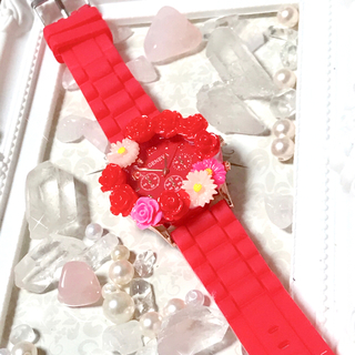 姫デコ プリンセス 赤 フラワー腕時計